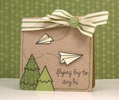 Lawn Fawn - Critters in the Forest, Flying By, Bright Side Paper; Card by Yainea