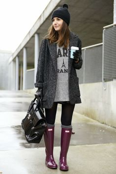 So cute look with gumboots