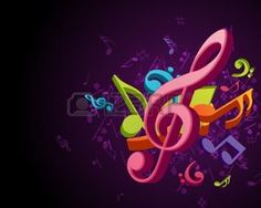 Colorful music background with fly notes photo