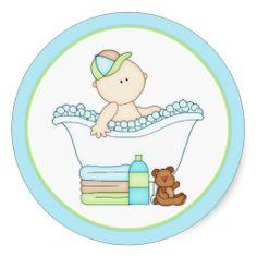 Baby Boy Taking a Bath Round Stickers