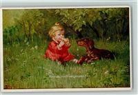 Künstlerkarte Fialkowska, W. Baby und Dackel - Hast du mich vergessen