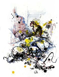 A cat wandering through the rubble of the deserted Tallat Al-Zarazeer district on the southern edge of the city. Illustration by Molly Crabapple Molly Crabapple, Aleppo, Urban Sketchers, Syria, Impressionist, New Art, Art Reference, Modern Art, Cool Art