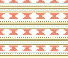coral aztec stripe fabric by eivie