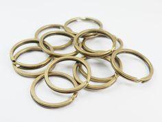 20 Pcs  30 mm Antique Brass Split Round Key Rings by punnysupply