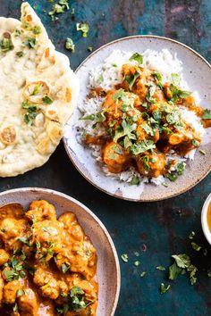 Indian Coconut Butter Cauliflower | halfbakedharvest.com #healthyrecipes #Indian #cauliflower #30minutes #easyrecipes Easy Indian Recipes, Ethnic Recipes, Indian Vegetarian Recipes, Vegan Indian Food, Vegan Vegetarian, Vegetarian Main Meals, Vegan Curry, Veggie Meals, Coconut Curry