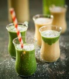 Coconut, pineapple, banana and spinach smoothie