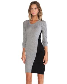Grey Long Sleeve Contrast Black Sheath Dress 29.98