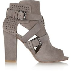Pour la Victoire Estel studded suede sandals ($250) ❤ liked on Polyvore featuring shoes, sandals, heels, boots, high heels, grey, grey shoes, gray suede shoes, strap sandals and studded sandals