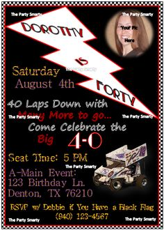 $10.00 Sprint Car Birthday Invitation