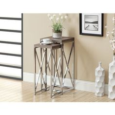 @Overstock.com - Dark Taupe Reclaimed-look Chrome Plant Stands (Set of 2) - Decorate your home with these attractive reclaimed-look plant stands. This plant stand features wood and metal construction for long-lasting good looks.  http://www.overstock.com/Home-Garden/Dark-Taupe-Reclaimed-look-Chrome-Plant-Stands-Set-of-2/8303318/product.html?CID=214117 $159.99