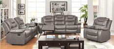 Furniture of America Gray Durotan Two-Toned 3-Piece Sofa Set