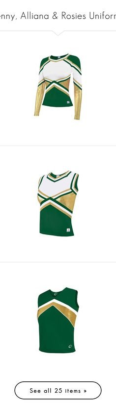 """""""Jenny, Alliana & Rosies Uniforms"""" by hiimmichelle ❤ liked on Polyvore featuring activewear, cheerleader, chassè, tops, metallic top, green top, shell tops, skirts, metallic skirts and green metallic skirt"""