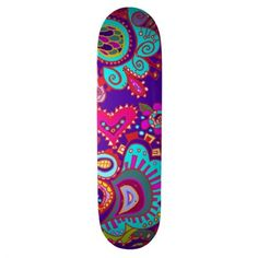 Roll down the sidewalk with the wind in your hair thanks to Zazzle's Girly skateboards. Choose your size, your deck, & get rolling with our skateboard! Custom Skateboard Decks, Custom Skateboards, Skateboard Art, Deep Purple, Blue, Sports Art, Outdoor Gear, Paisley, Cool Designs