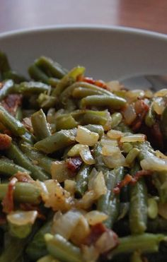 Heritage Schoolhouse: Home Style Green Beans cooked then tossed with vinegar and brown sugar, onion and bacon.