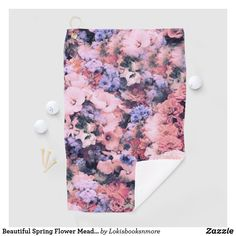 Beautiful Spring Flower Meadow Golf Towel Create Your Own, Create Yourself, Golf Towels, Golf Accessories, Golf Ball, Spring Flowers, Mother Gifts, Floral Tie, Pink Purple
