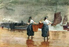 Winslow Homer - Fishergirls on the Beach, Tynemouth, 1881 - watercolor - Brooklyn Museum of Art, USA Artist Painting, Watercolor Paintings, Watercolors, Watercolor Artists, Oil Paintings, Winslow Homer Paintings, Illustrations, American Artists, American Realism