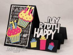 Birthday Step Up Card by stampwithkristine – Cards and Paper Crafts at Splitcoaststampers - Birthday Card Fun Fold Cards, Pop Up Cards, Folded Cards, Handmade Birthday Cards, Happy Birthday Cards, Birthday Gifts, Birthday Greeting Cards, Side Step Card, Tarjetas Diy