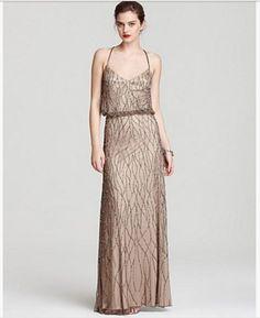 Adrianna Papell Beaded Mesh Blouson Gown Beige $278 Sz. 6 NWT Sassy1.8
