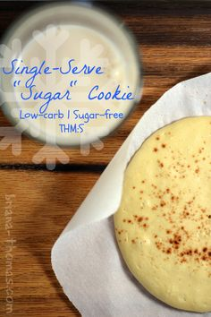 "Healthy Single-Serve ""Sugar"" Cookie {Low-carb, Sugar-free, THM:S}...all the flavors of the holiday season in one healthy jumbo cookie. Merry Christmas!"