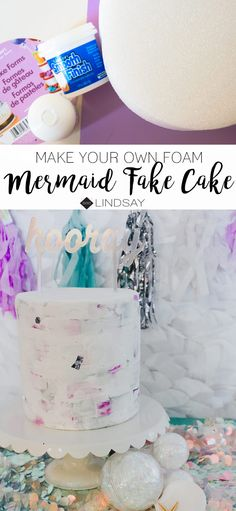 Create a faux birthday cake with some foam and smooth finish. Perfect for a Mermaid birthday party. Crafts To Make And Sell, Easy Diy Crafts, Fun Crafts, Crafts For Kids, Simple Crafts, Creative Crafts, Mermaid Birthday, Boy Birthday, Birthday Cake