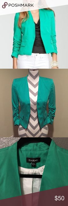 SALE! Green BEBE jacket Bebe Jacket with ruched & 3/4 sleeves. The color looks more like the 3rd picture to me. bebe Jackets & Coats Blazers