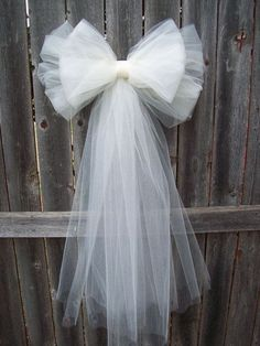 wedding pew bows | Tulle Pew Bow Tulle Wedding Formal Aisle Decor by OneFunDay, $13.00
