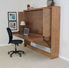 Decorate your room in a new style with murphy bed plans Murphy Bed Desk, Murphy Bed Plans, Furniture Grade Plywood, Tyni House, Hideaway Bed, Modern Murphy Beds, Hidden Bed, Woodworking Bed, Woodworking School