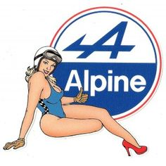 ALPINE RENAULT Pin Up Sticker droite - cafe-racer-bretagne.clicboutic.com