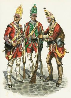 "The 'Louisbourg Grenadiers' - ""The 'Louisbourg Grenadiers' was a temporary unit formed in 1759 for the Quebec expedition from the grenadier companies of three regiments that were stayed behind as part of the British garrison of Louisbourg. The image shows grenadiers of the 22nd (left), 40th (right) and 45th (centre) Regiments of Foot. General Wolfe was with the Grenadiers when he was hit at the battle of the Plains of Abraham on 13 September 1759."""