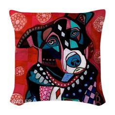 Border Collie Art Pillow  Throw Pillow  Dog by HeatherGallerArt