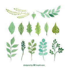Hand bemalt grünen Blättern Kostenlose Vektoren
