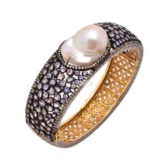 Buy Silver Pearl, Tanzanite Bangle, Pearl, Tanzanite Gold Plating/Black Rhodium Bangles from SAR Gems at affordable prices. #jewelry #Tanzanite #Bangles #jewellery