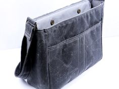 Waxed Canvas Padded Tablet Bag Unisex Grey by WhiteCrossDesigns