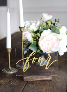 Acrylic Wedding Table Numbers with Stands, Gold Calligraphy Table Numbers, Calligraphy Table Numbers, Rustic Wedding, Modern Wedding - Wedding Decorations Number Calligraphy, Gold Calligraphy, Gold Table Numbers, Diy Wedding Table Numbers, Wedding Table Signs, Wedding Table Markers, Wooden Wedding Signs, Low Cost Wedding, Practical Wedding