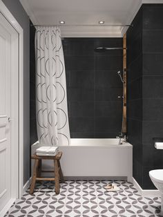Description: Snadinavian living place for young couple located in Saint-Petersburg. Charcoal Bathroom, Bathroom Red, Downstairs Bathroom, Bathroom Interior, Home Design, Bath Design, Home Interior Design, Red Bathroom Accessories, Bathtub Shower Combo