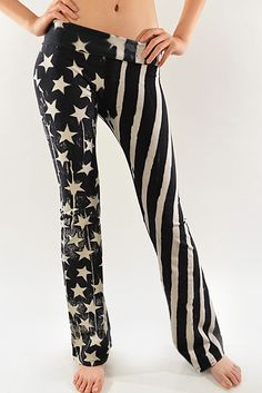 Black American Flag Special Dye Yoga Pants