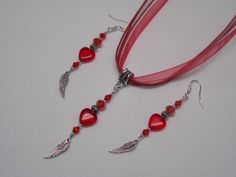 Red Crystal Hearts on Angel Wings Jewelry by paulandninascrafts, $12.00