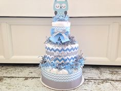 Owl Chevron Diaper Cake for Boys, Baby Shower Centerpiece on Etsy, $59.00