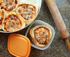 Imagine a soft dough, shaped like cinnamon rolls, but savory, baked up with pizza sauce and mozzarella. Pizza rolls are delicious and portable.  Perfect in a lunchbox!