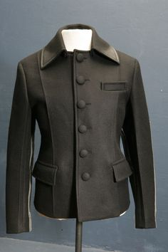 Mens stunning designer black Overcoat by Prada 38/40 chest, sleeve patch detail
