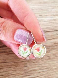 10mm tiny primrose earrings, bronze or silver studs, copper or silver lever backs!