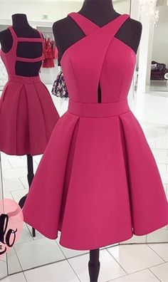 2017 Short Rose A Line Sleveless Homecoming Dress Prom Dress, Short Prom Dress with Open Back