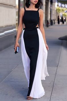 f7cdee1f5a25 Stylish Square Neck Color Block Cut Out Backless Sleeveless Maxi Dress For  Women White Maxi