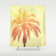 Shower Curtain, Palm Tree Bath Tub Curtain, Golden Sunshine Yellow Tropical Beach Bungalow Loft Apartment Style Decor Boho Hippie Chic 71x74