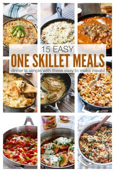 15 Easy One Skillet Meals that your family will LOVE! Simple, delicious one skillet meals mean fewer dirty dishes for you to worry about cleaning! Easy Dinner Recipes, Great Recipes, Yummy Recipes, Dinner Ideas, Favorite Recipes, Cooking Recipes, Healthy Recipes, Cooking Hacks, Healthy Cooking