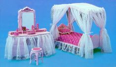 pink Barbie Dream Glow Vanity and Bed, 1985 letto e specchiera rosa Barbie Luce di Stelle