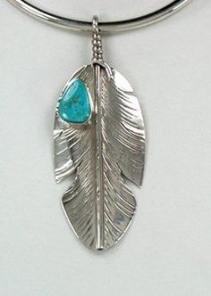 """Navajo Sterling Silver and Turquoise Feather pendant Visit us on here ==> http://canawan.com and use the code """"OFF15"""" to get discount 15%"""