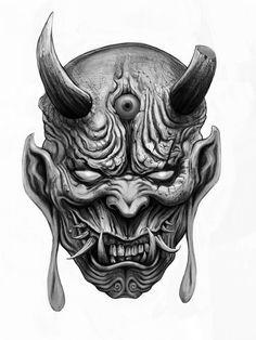 Satanic Tattoos, Evil Tattoos, Satanic Art, Hannya Samurai, Samurai Tattoo, Samurai Art, Demon Drawings, Dark Art Drawings, Tattoo Drawings