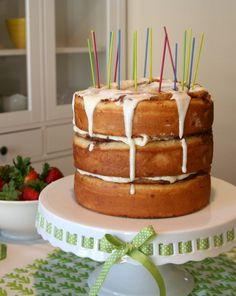 """<p>Why wait all the way until the evening for birthday cake? No, seriously. Especially when you can just make a couple giant cinnamon rolls and stack them up, layer-cake style. It counts as breakfast, I promise! Plus, nothing says """"Happy Birthday"""" like something ridiculous baked with love. The real inspiration …</p>"""