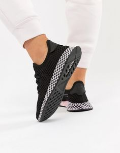 adidas Originals Deerupt Sneakers In Black And Lilac 402c179d232